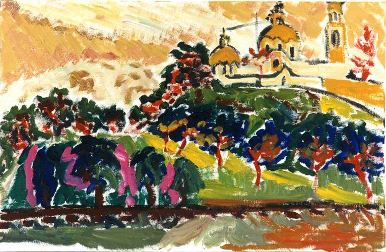 La pyramide de Cholula vue de la voie ferrée. Huile sur carton marouflé. 1995 El Chuxpo artiste peintre